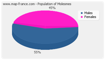 Sex distribution of population of Molesmes in 2007