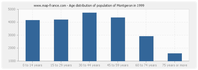 Age distribution of population of Montgeron in 1999