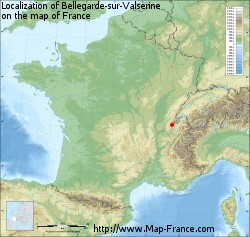 Bellegarde-sur-Valserine on the map of France