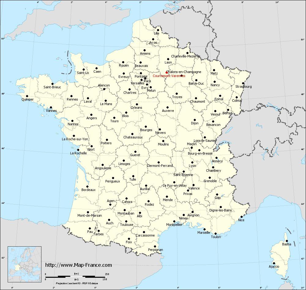 Administrative map of Courtemont-Varennes
