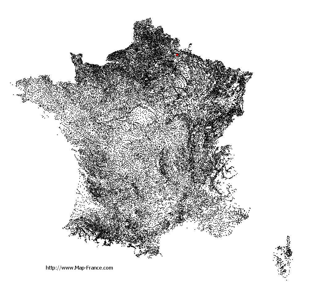 Renneval on the municipalities map of France