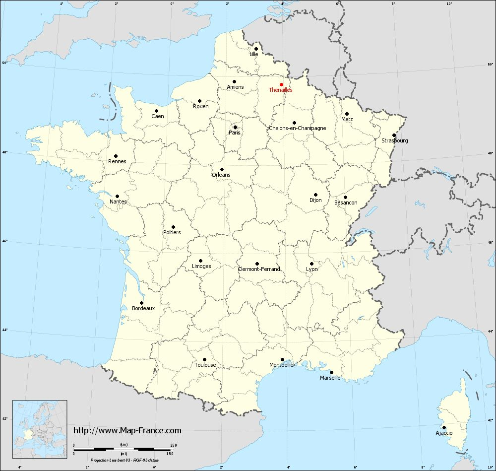 Carte administrative of Thenailles