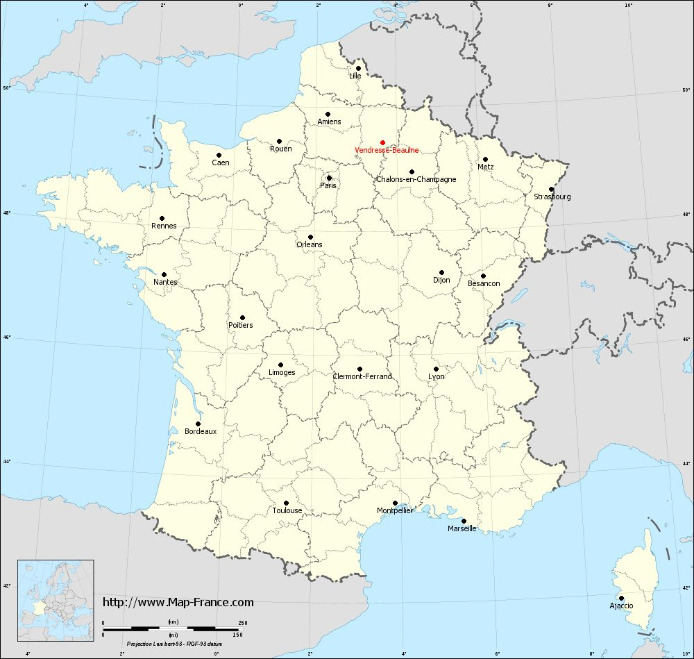 Carte administrative of Vendresse-Beaulne