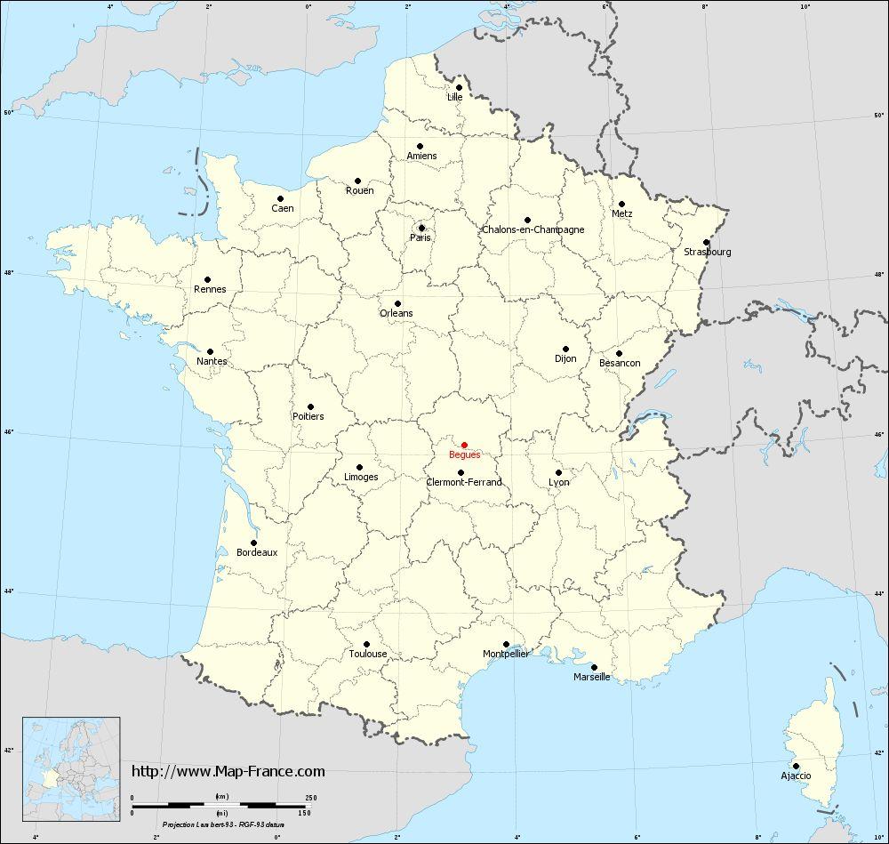 Carte administrative of Bègues