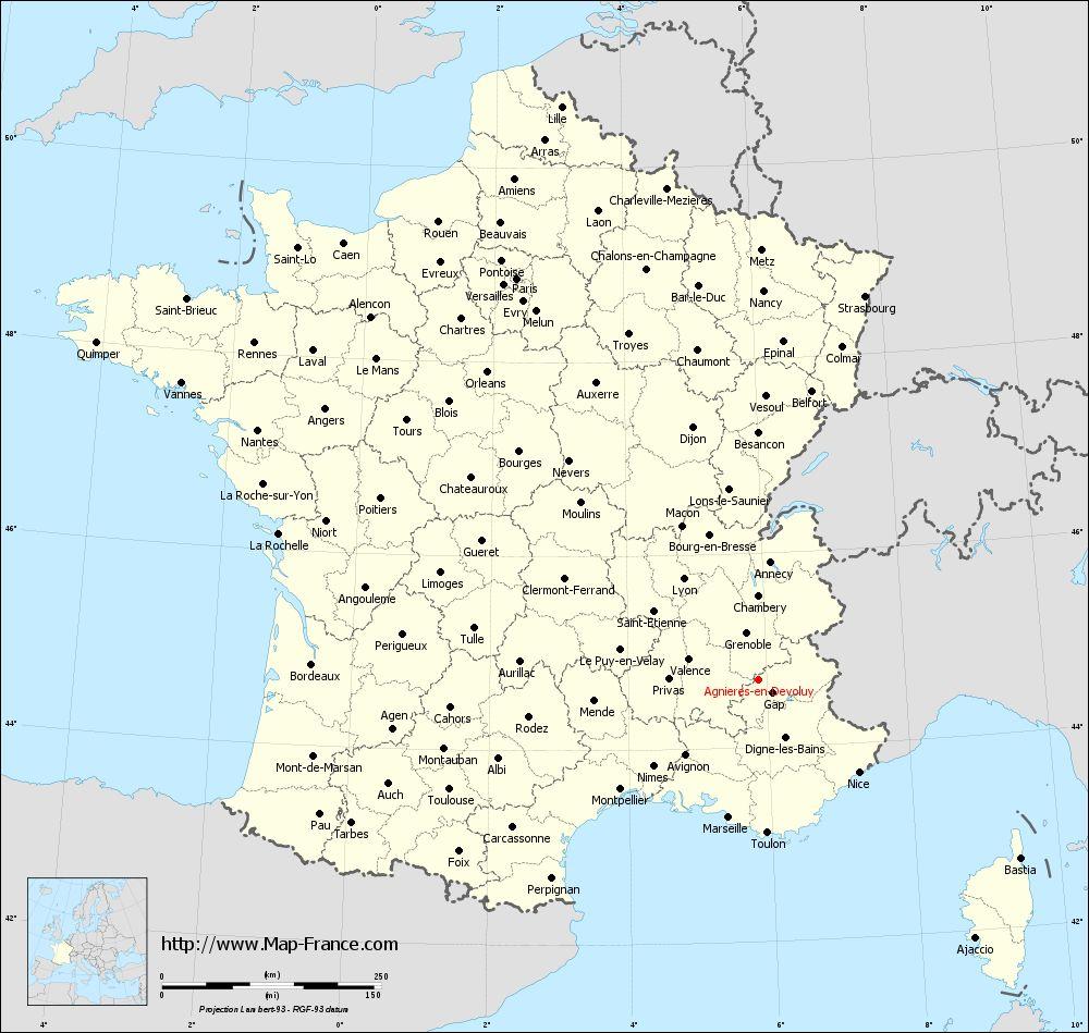 Administrative map of Agnières-en-Dévoluy
