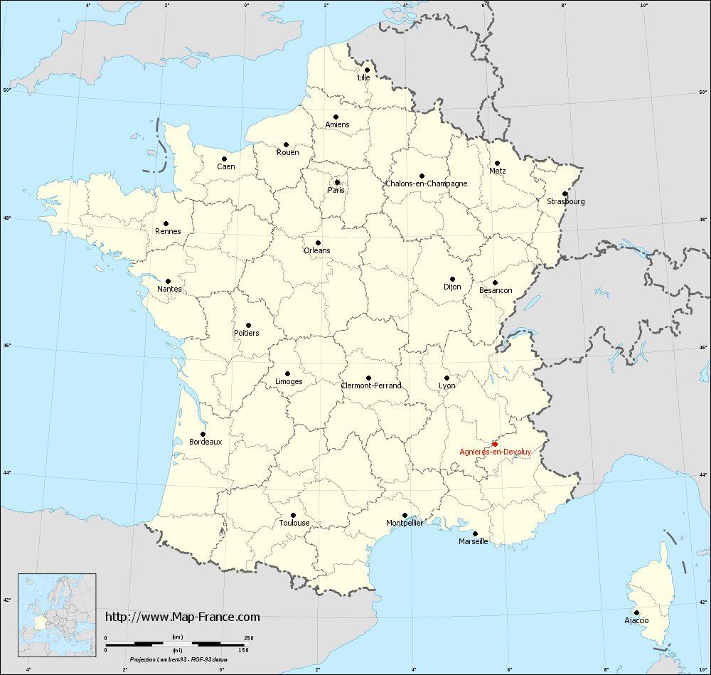 Carte administrative of Agnières-en-Dévoluy