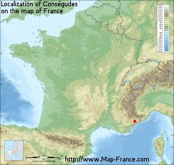 Conségudes on the map of France
