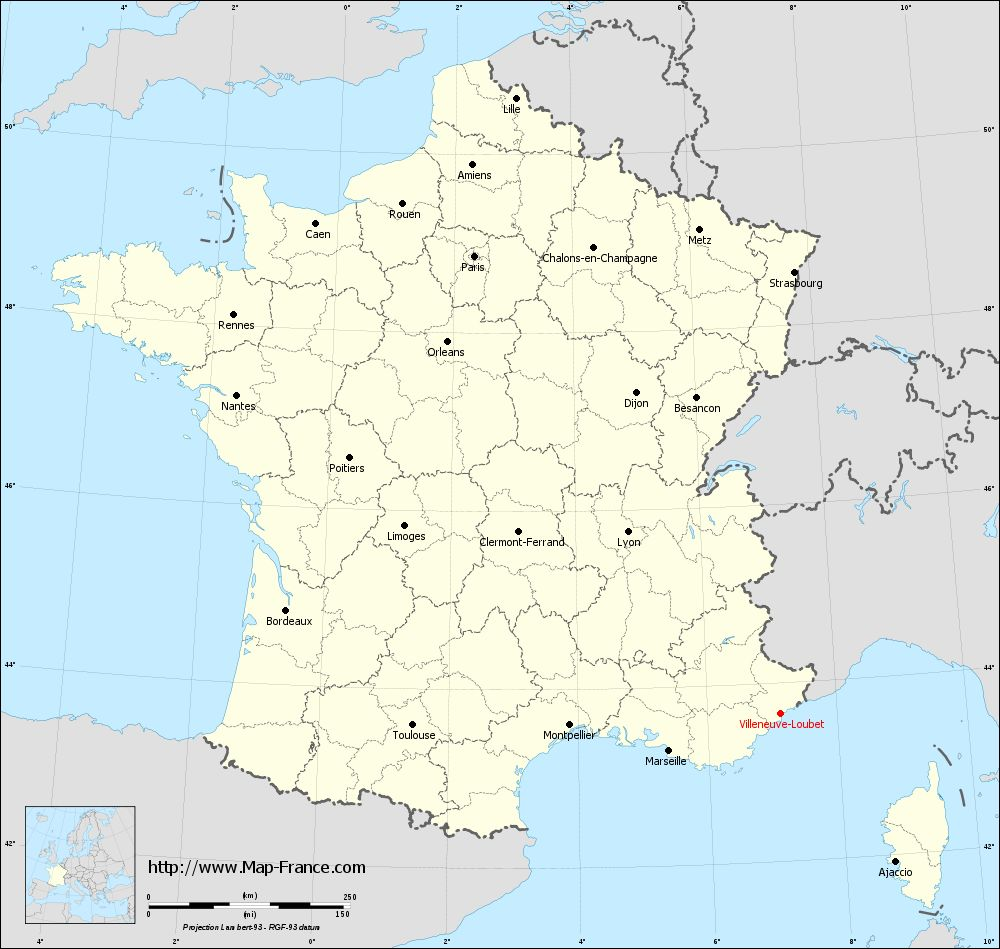 Carte administrative of Villeneuve-Loubet