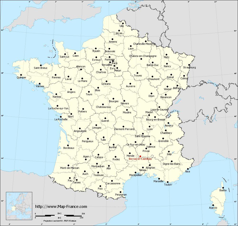 Administrative map of Berrias-et-Casteljau