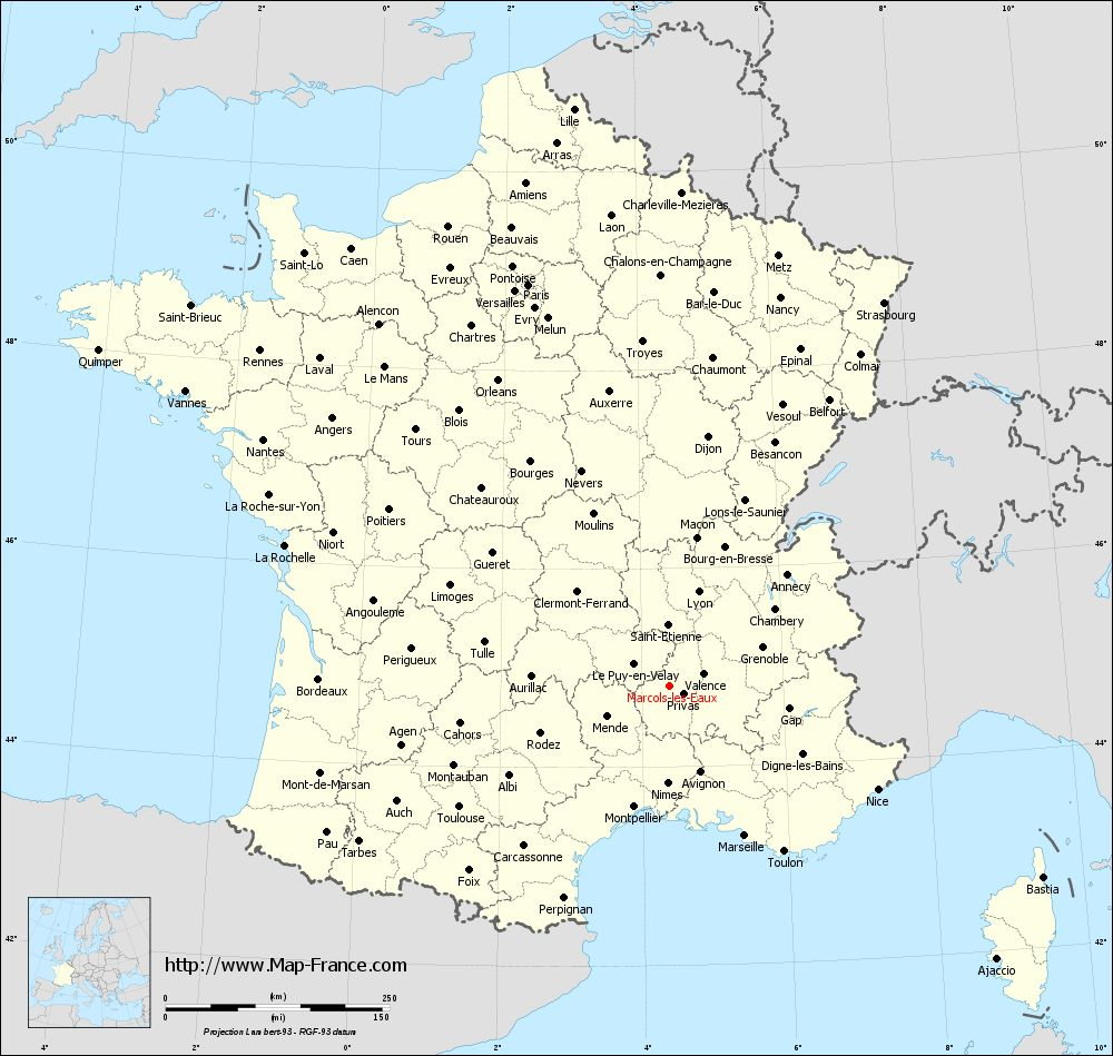 Administrative map of Marcols-les-Eaux