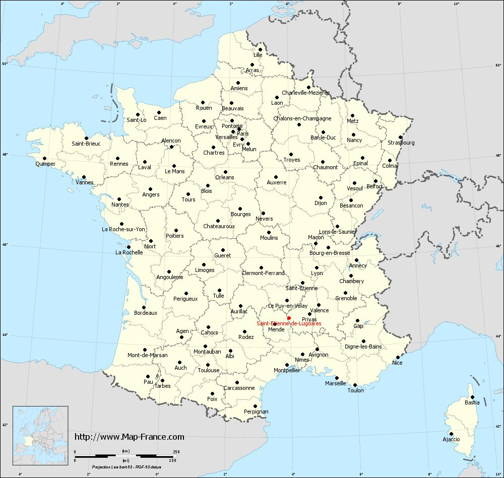 Administrative map of Saint-Étienne-de-Lugdarès