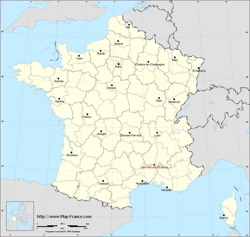 Road Map Saint Marcel D Ardeche Maps Of Saint Marcel D Ardeche 07700