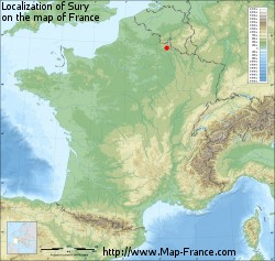 Sury on the map of France
