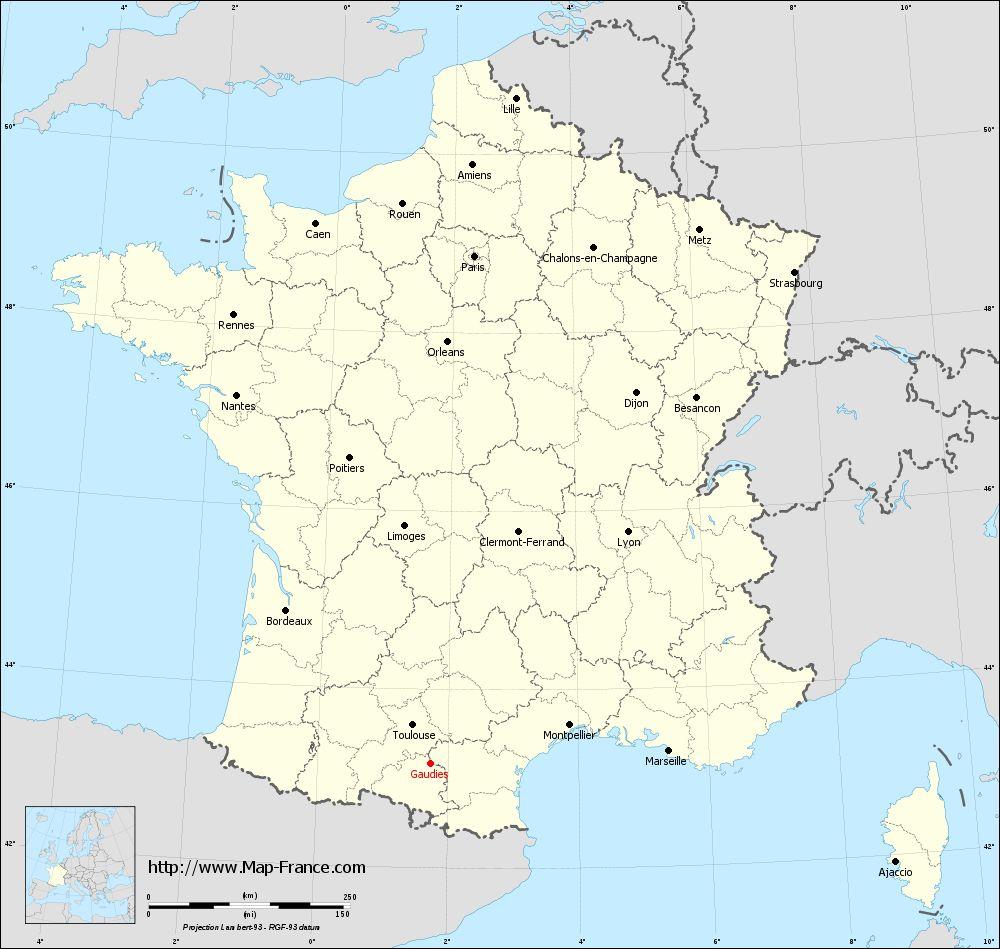 Carte administrative of Gaudiès
