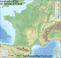 Sor on the map of France