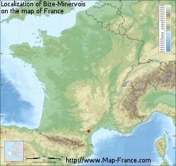 Bize-Minervois on the map of France