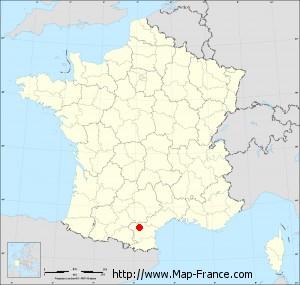 Small administrative base map of Caux-et-Sauzens