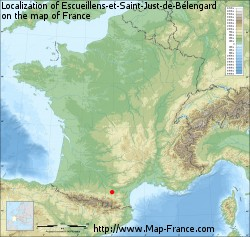 Escueillens-et-Saint-Just-de-Bélengard on the map of France