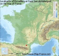 Escueillens-et-Saint-Just-de-Bélengard on the map of France