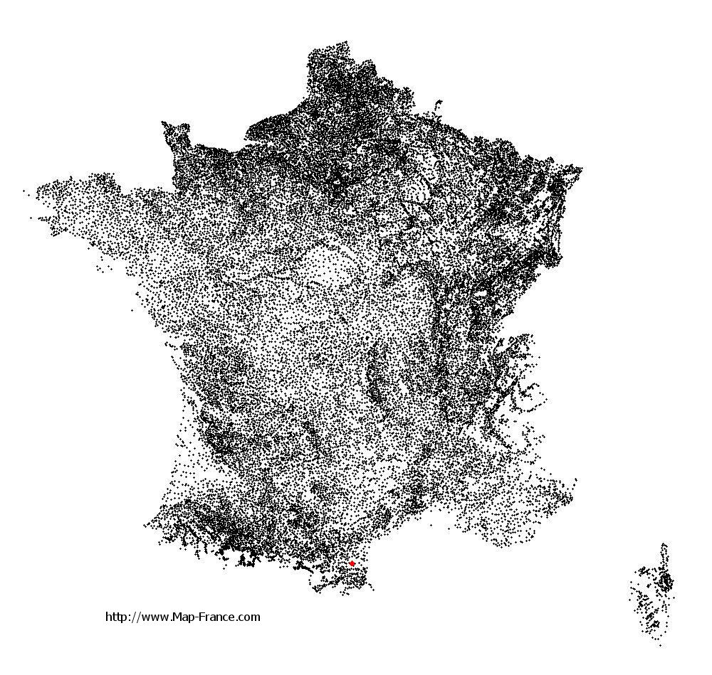 Paziols on the municipalities map of France