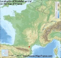 Pradelles-en-Val on the map of France