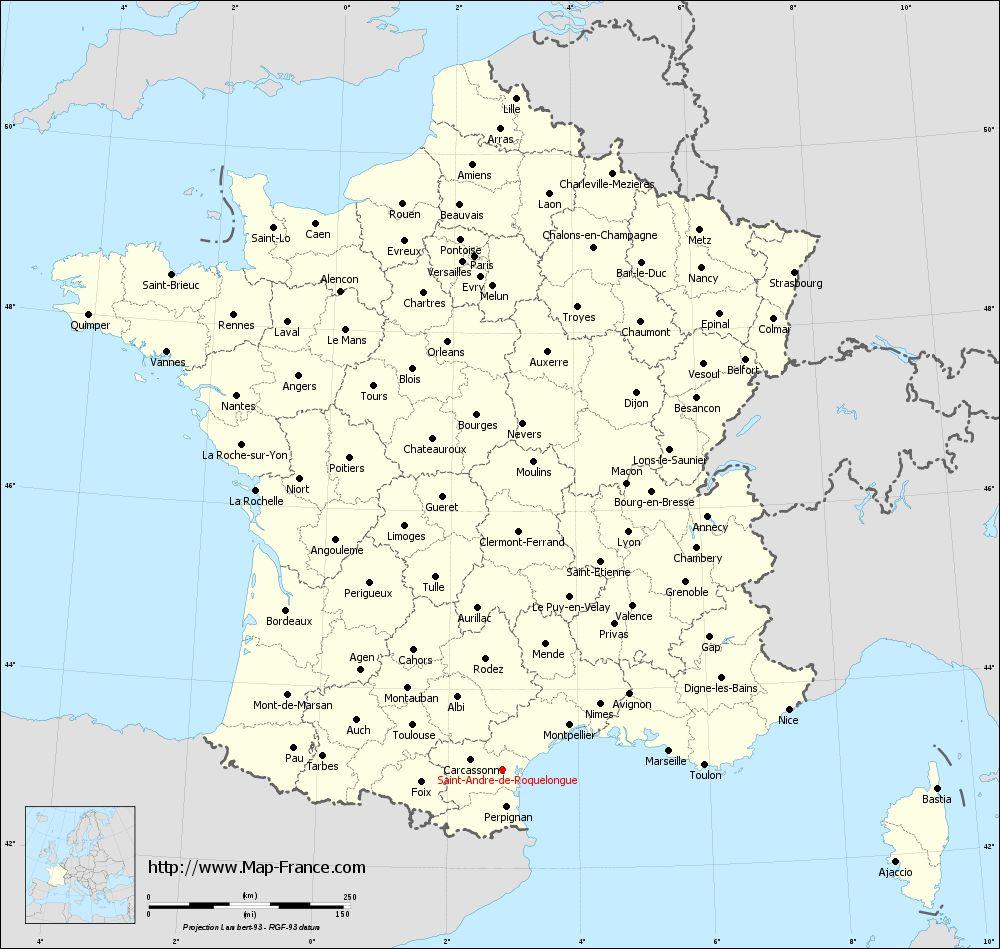 Administrative map of Saint-André-de-Roquelongue