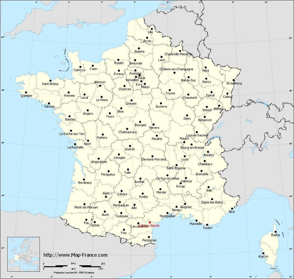 Administrative map of Sallèles-d'Aude