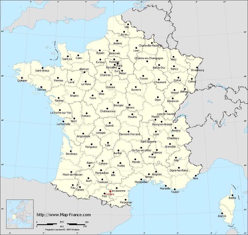 Administrative map of Tréziers