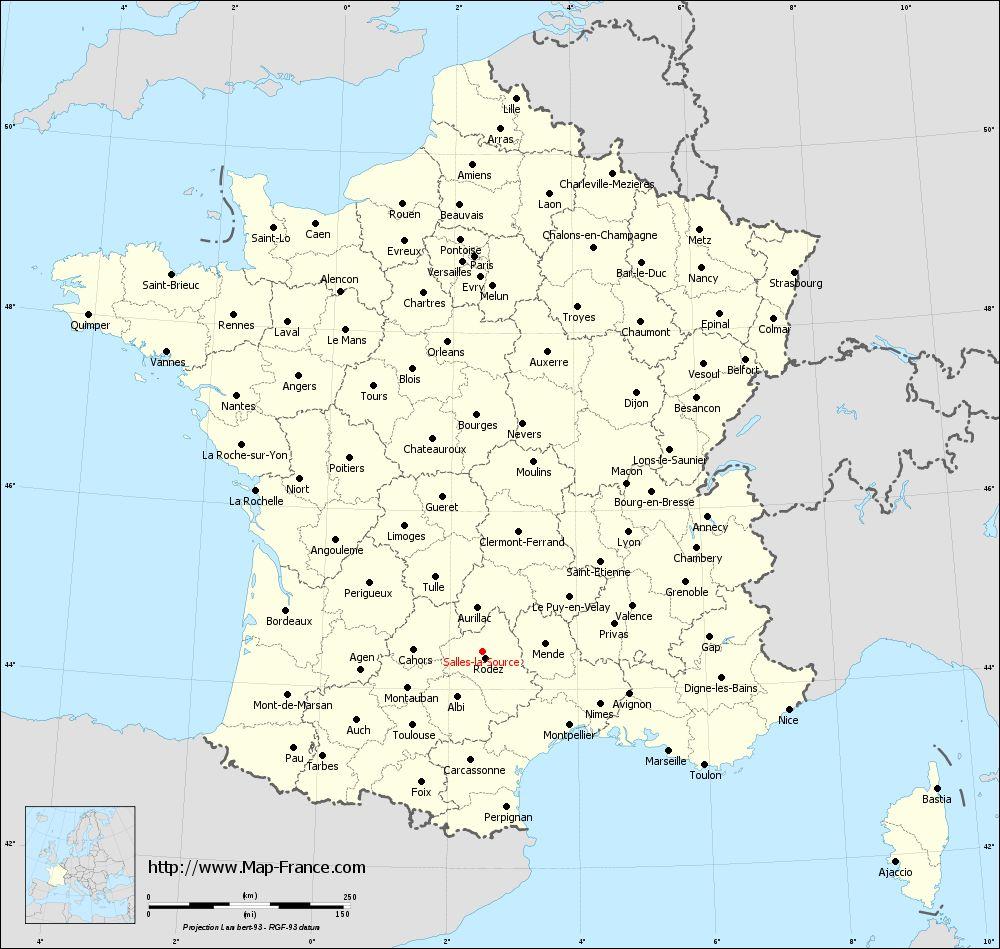 Administrative map of Salles-la-Source