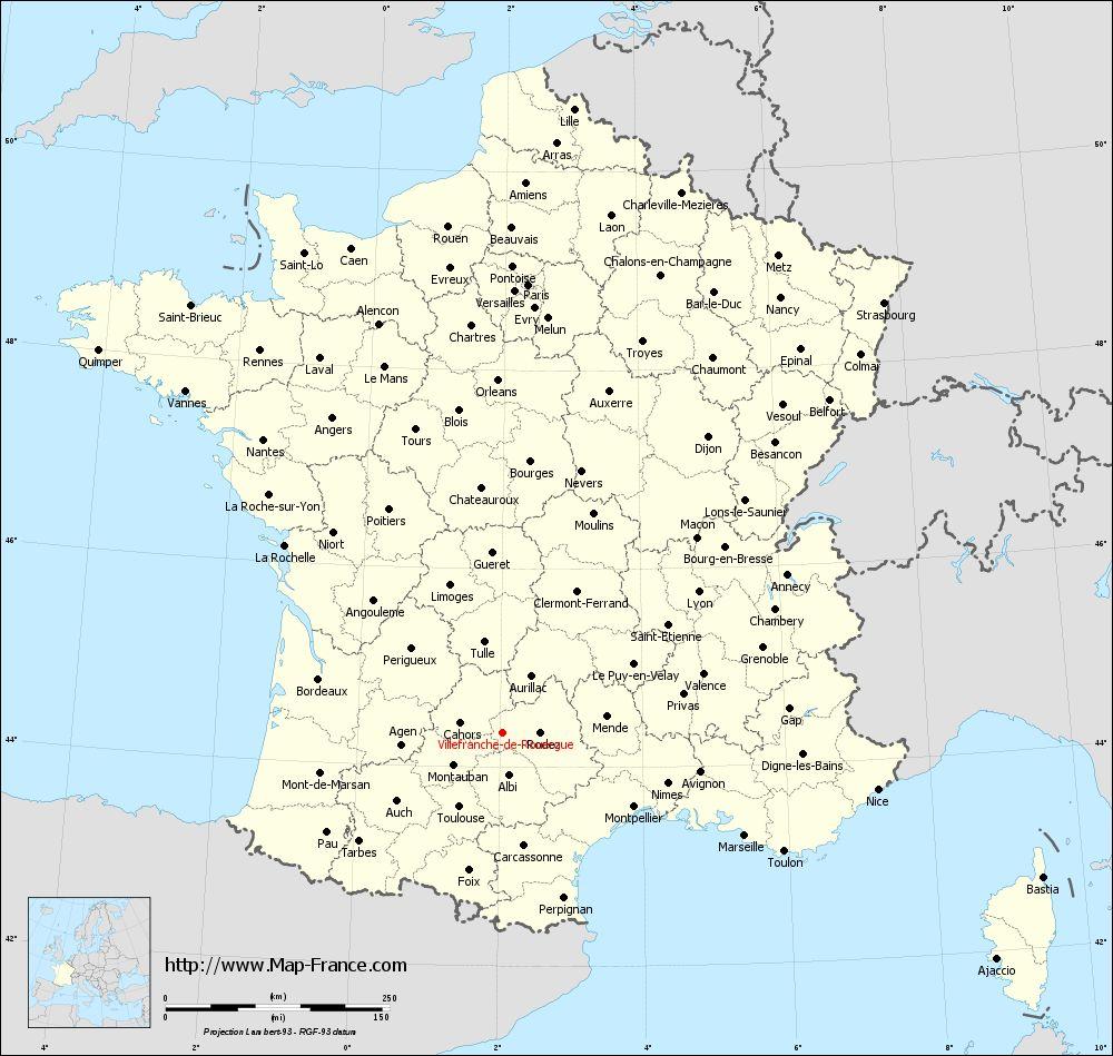 Administrative map of Villefranche-de-Rouergue