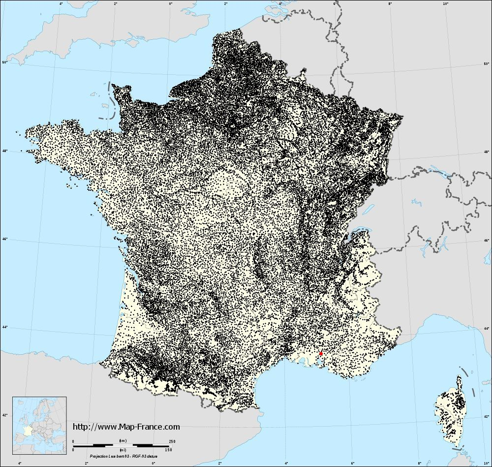 Aurons on the municipalities map of France
