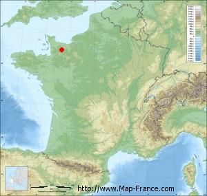 Small france map relief of Danvou-la-Ferrière