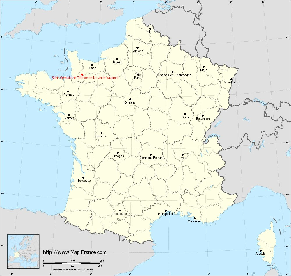 Carte administrative of Saint-Germain-de-Tallevende-la-Lande-Vaumont
