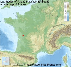 Paizay-Naudouin-Embourie on the map of France