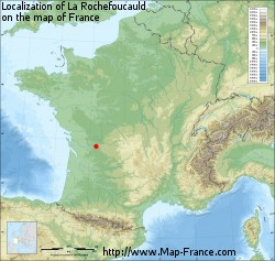 La Rochefoucauld on the map of France