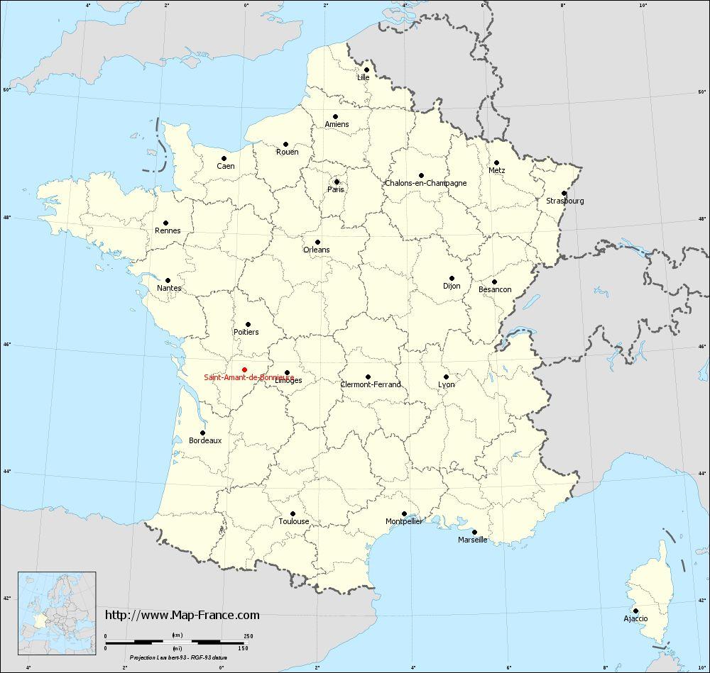 Carte administrative of Saint-Amant-de-Bonnieure