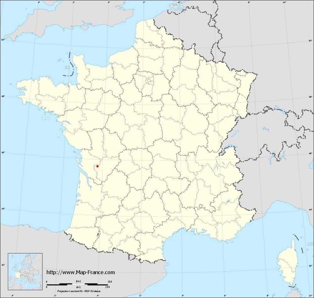 Base administrative map of Sainte-Sévère