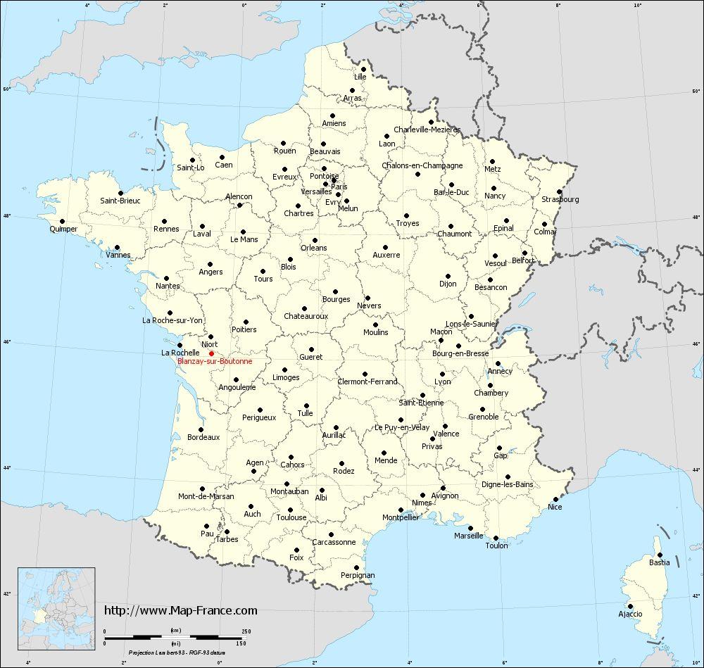 Administrative map of Blanzay-sur-Boutonne