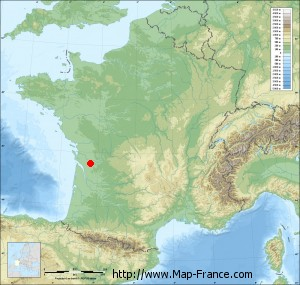 Small france map relief of Jarnac-Champagne