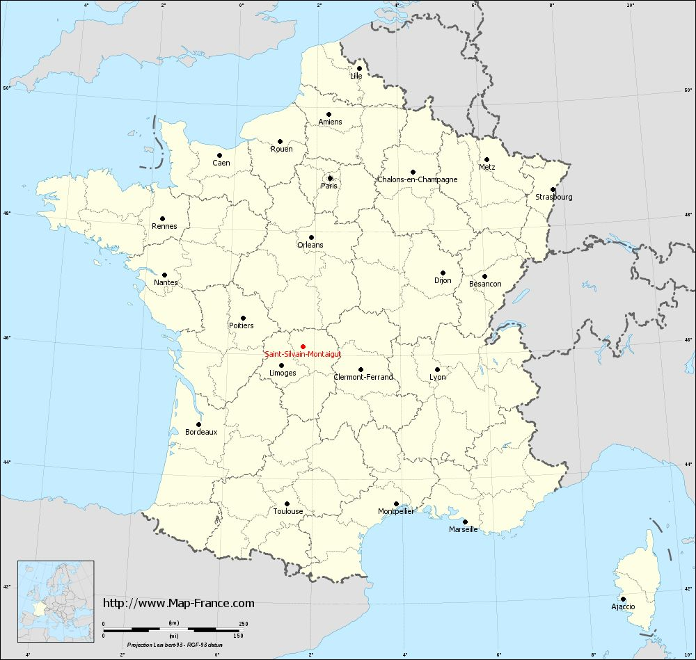 Carte administrative of Saint-Silvain-Montaigut
