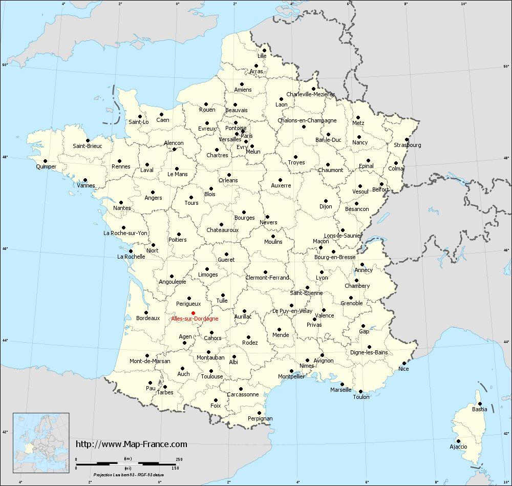 Administrative map of Alles-sur-Dordogne
