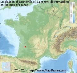 Bonneville-et-Saint-Avit-de-Fumadières on the map of France