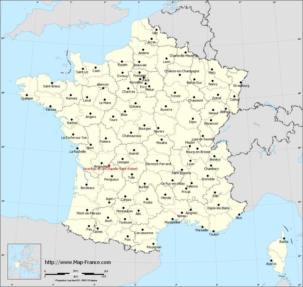 Administrative map of Javerlhac-et-la-Chapelle-Saint-Robert