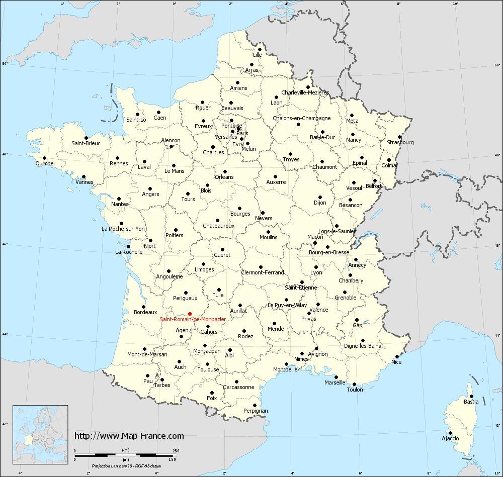 Administrative map of Saint-Romain-de-Monpazier