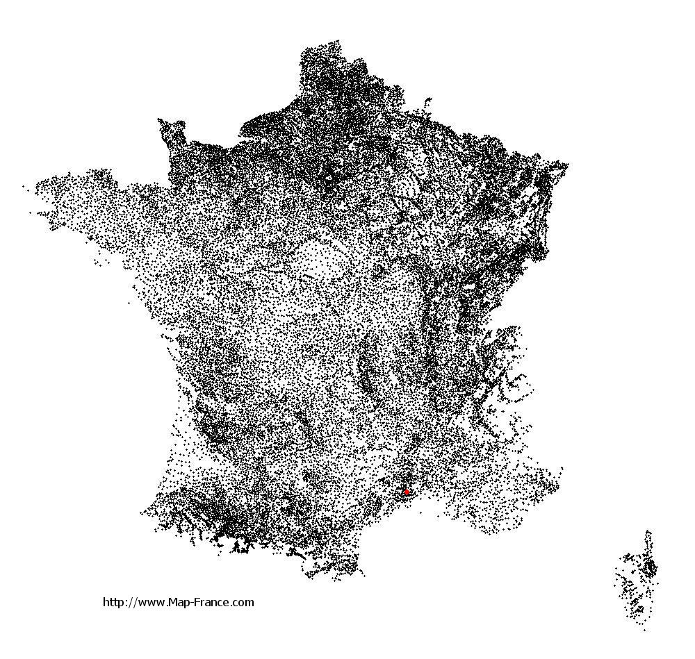 Aujargues on the municipalities map of France