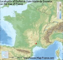 Durfort-et-Saint-Martin-de-Sossenac on the map of France