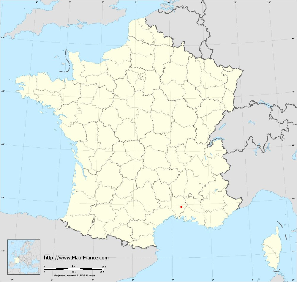 Base administrative map of Lédenon