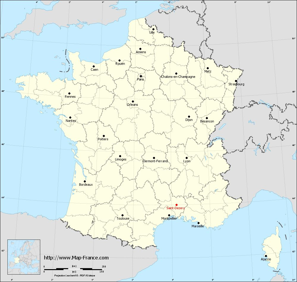 Carte administrative of Saint-Dézéry