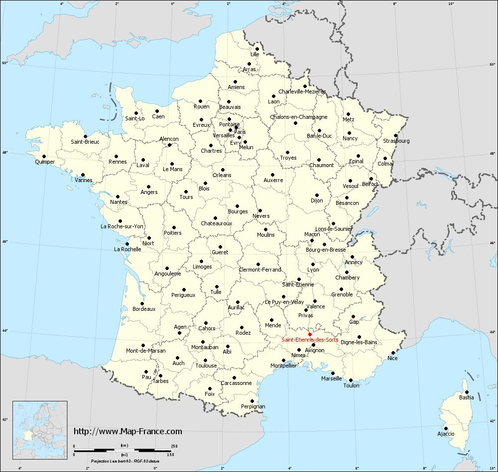 Administrative map of Saint-Étienne-des-Sorts