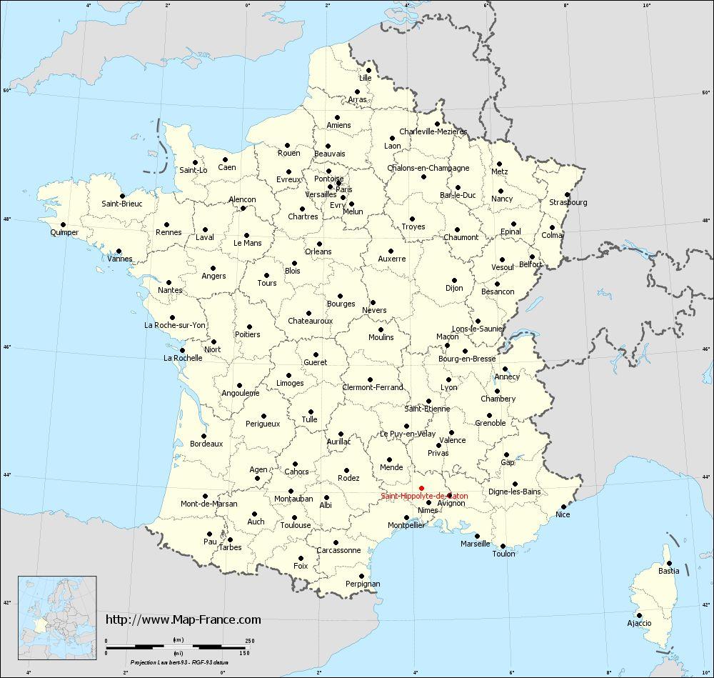 Administrative map of Saint-Hippolyte-de-Caton